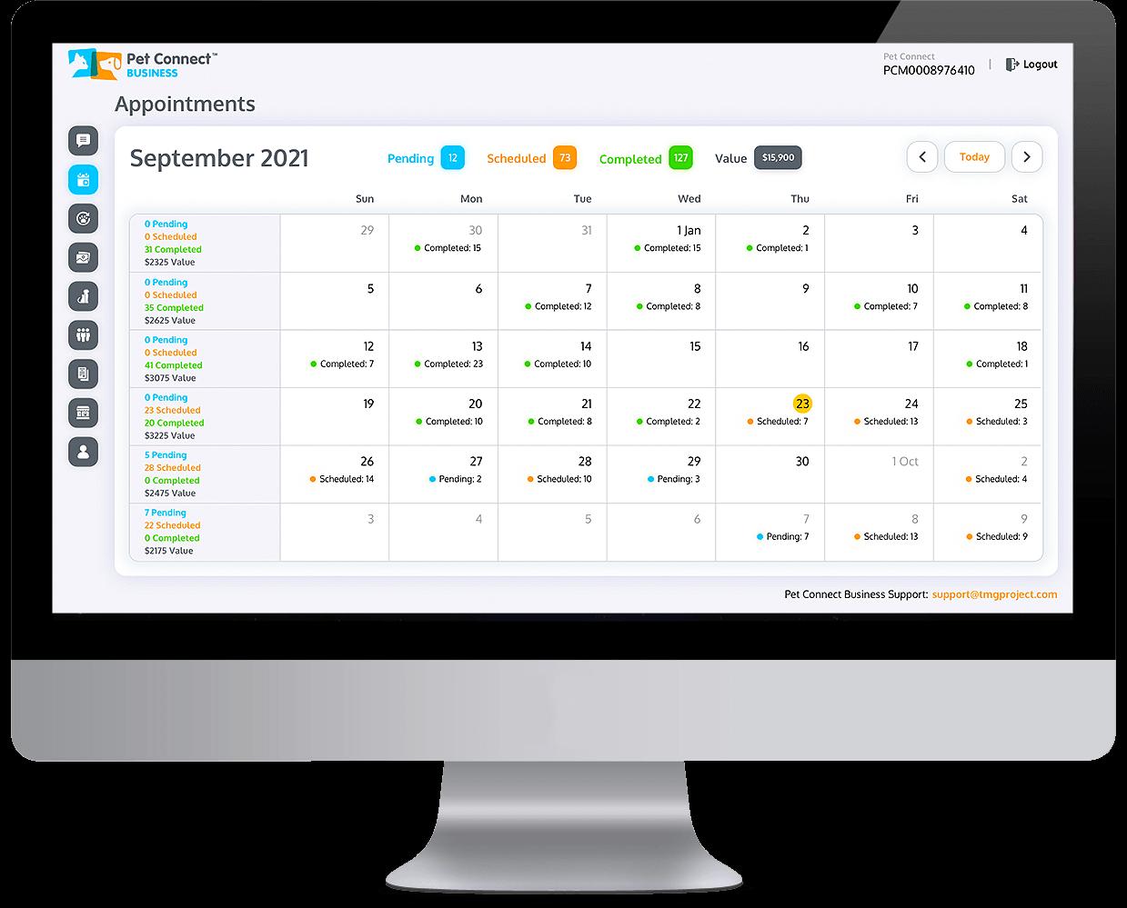 Pet services management system Appointment calendar Desktop view