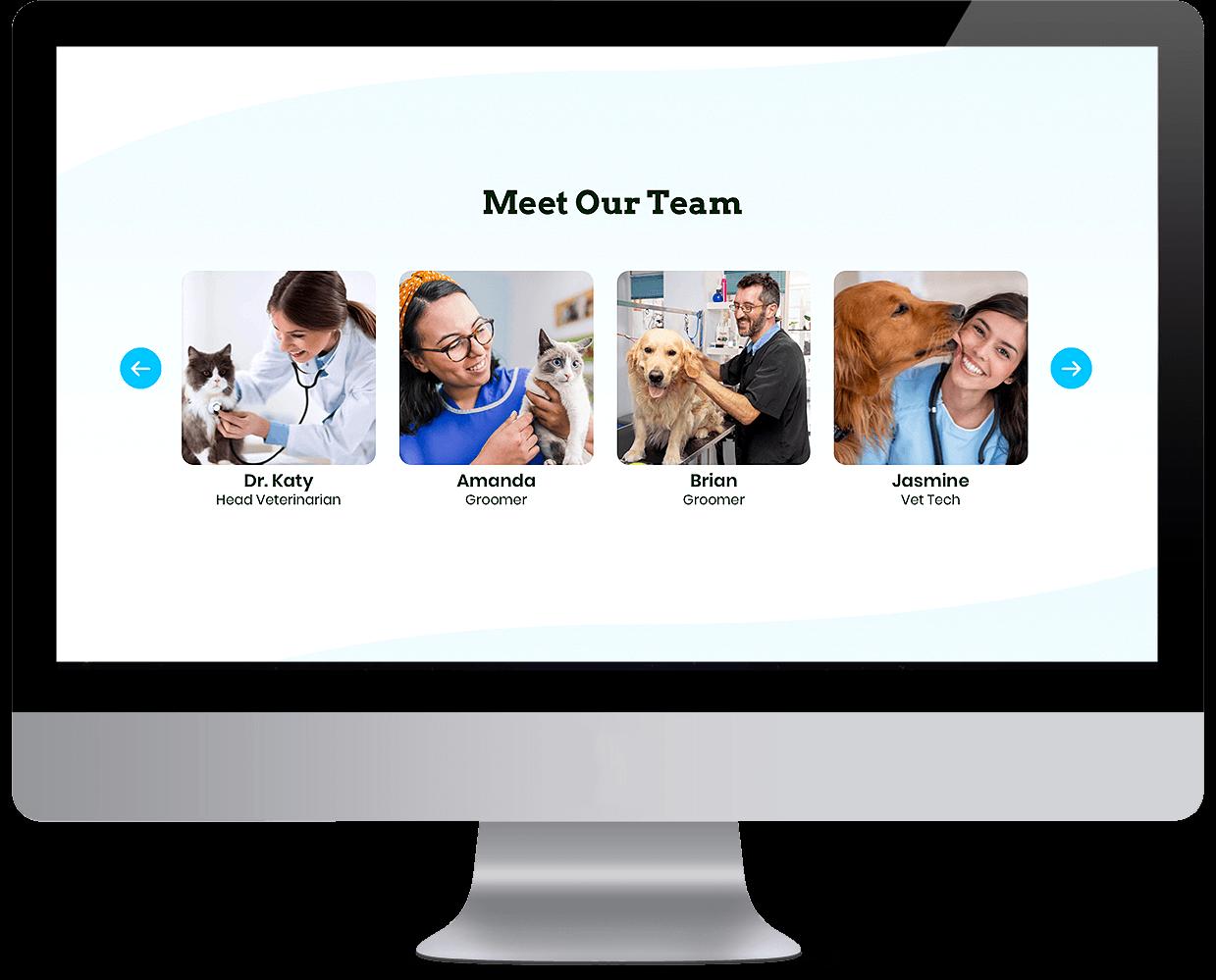 Pet services management sytem Team showcase interface desktop view