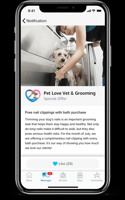 Pet services management hub Push Notifications